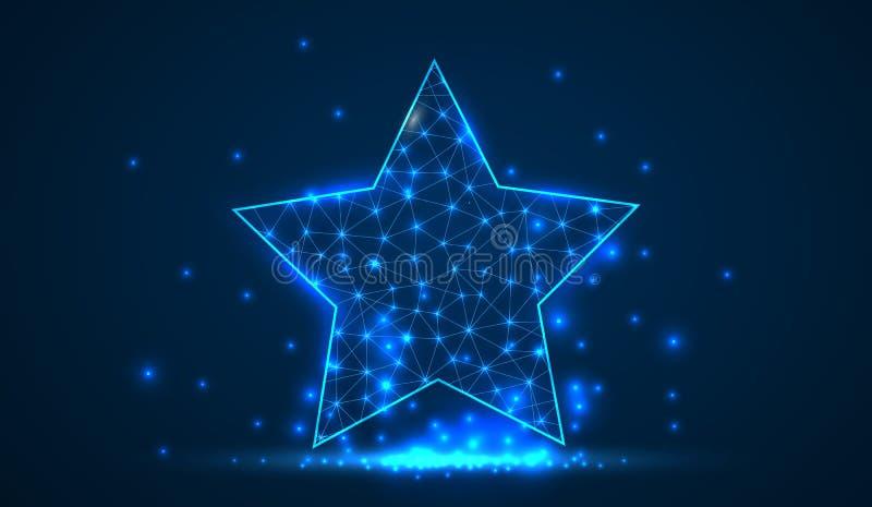 Αφηρημένο polygonal ελαφρύ αστέρι Επιχειρησιακό wireframe πλέγμα Επιτυχία, αστέρι πυροβολισμού, το καλύτερο, έννοια Χριστουγέννων ελεύθερη απεικόνιση δικαιώματος