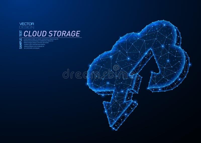 Αφηρημένο polygonal ελαφρύ σχέδιο της αποθήκευσης σύννεφων με τα βέλη απεικόνιση αποθεμάτων