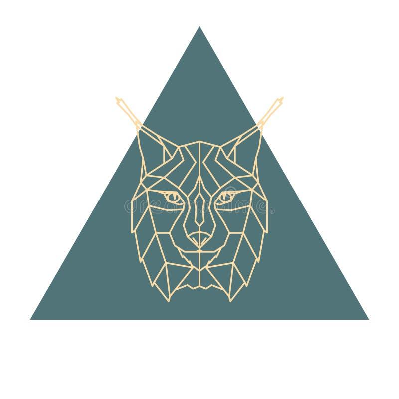 Αφηρημένο polygonal επικεφαλής λογότυπο λυγξ διανυσματική απεικόνιση