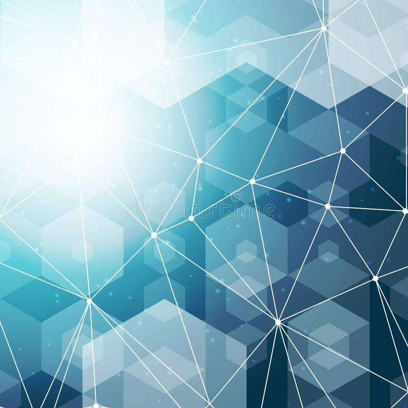 Αφηρημένο polygonal διαστημικό μπλε εξαγωνικό υπόβαθρο με τη σύνδεση των σημείων και των γραμμών επίσης corel σύρετε το διάνυσμα  απεικόνιση αποθεμάτων