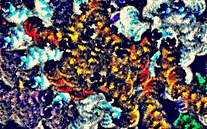 Αφηρημένο psychedelic υπόβαθρο χαοτικά τακτοποιημένος χρωματισμένος συνδυασμένος, Ιστός των λεπτών γραμμών απεικόνιση αποθεμάτων