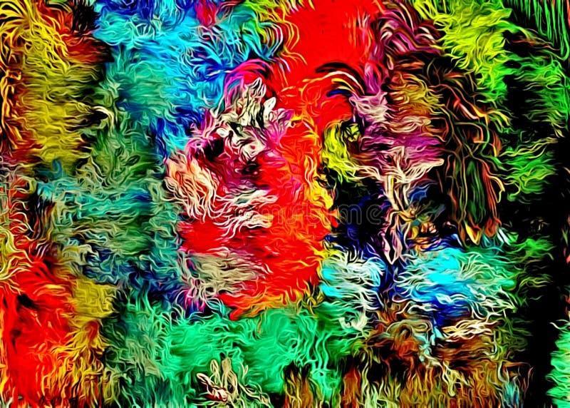 Αφηρημένο psychedelic υπόβαθρο χαοτικά τακτοποιημένος χρωματισμένος συνδυασμένος, Ιστός των λεπτών γραμμών διανυσματική απεικόνιση