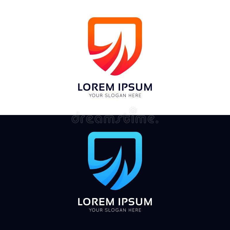 Αφηρημένο vecto εικονιδίων λογότυπων επιχείρησης σημαδιών ασπίδων ασφάλειας προστασίας ελεύθερη απεικόνιση δικαιώματος