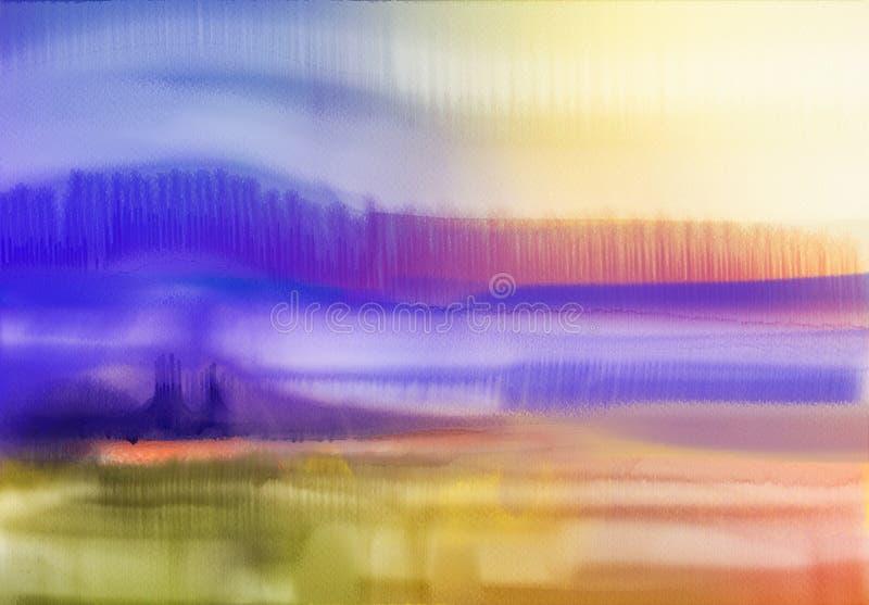 αφηρημένο watercolor ανασκόπησης Ημι αφηρημένο τοπίο ζωγραφικής watercolor διανυσματική απεικόνιση