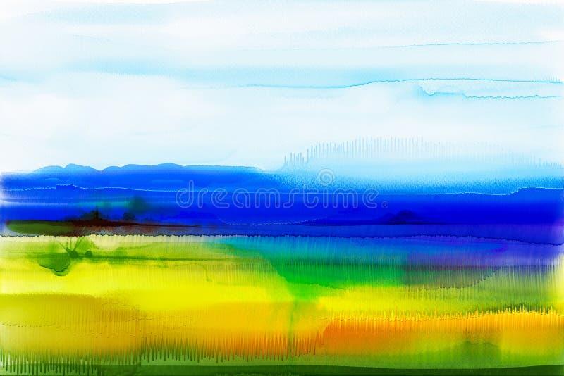 αφηρημένο watercolor ανασκόπησης Ημι αφηρημένο τοπίο ζωγραφικής watercolor ελεύθερη απεικόνιση δικαιώματος