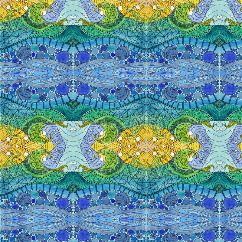 αφηρημένο watercolor ζωγραφικής Λεκιασμένα κύματα γυαλιού τέχνης Nouveau Εκφραστικό κυματιστό σχέδιο ελεύθερη απεικόνιση δικαιώματος