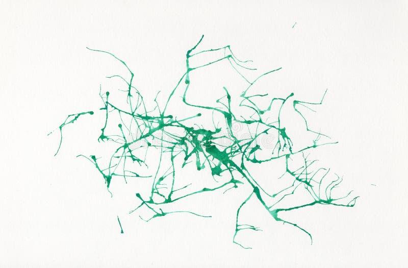 Αφηρημένο watercolor σε χαρτί Πράσινοι νευρώνες υποβάθρου ελεύθερη απεικόνιση δικαιώματος