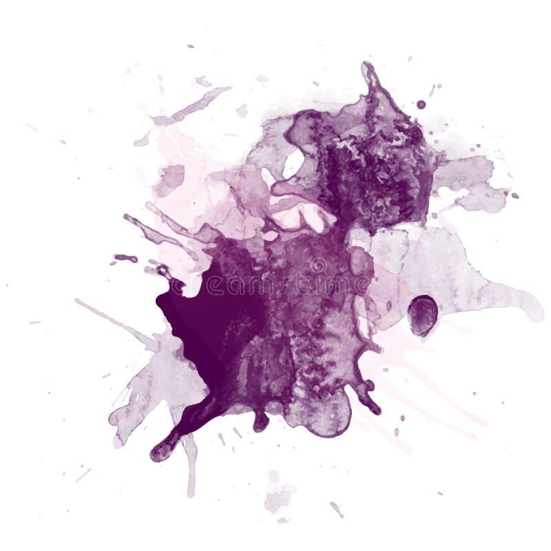 Αφηρημένο watercolor στο άσπρο ράντισμα χρώματος του /The υποβάθρου στο έγγραφο διανυσματική απεικόνιση