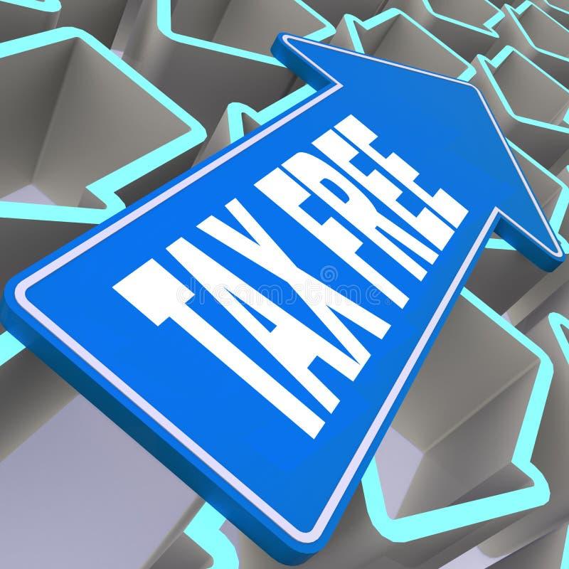 Αφορολόγητη λέξη με το μπλε βέλος ελεύθερη απεικόνιση δικαιώματος