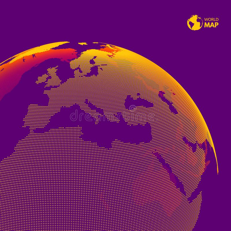 Αφρική και Ευρώπη Γήινη σφαίρα Σφαιρική έννοια επιχειρησιακού μάρκετινγκ Διαστιγμένο ύφος Σχέδιο για την εκπαίδευση, επιστήμη, πα διανυσματική απεικόνιση
