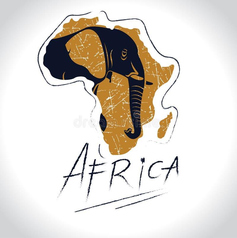 Αφρική και σαφάρι με το λογότυπο 3 ελεφάντων ελεύθερη απεικόνιση δικαιώματος