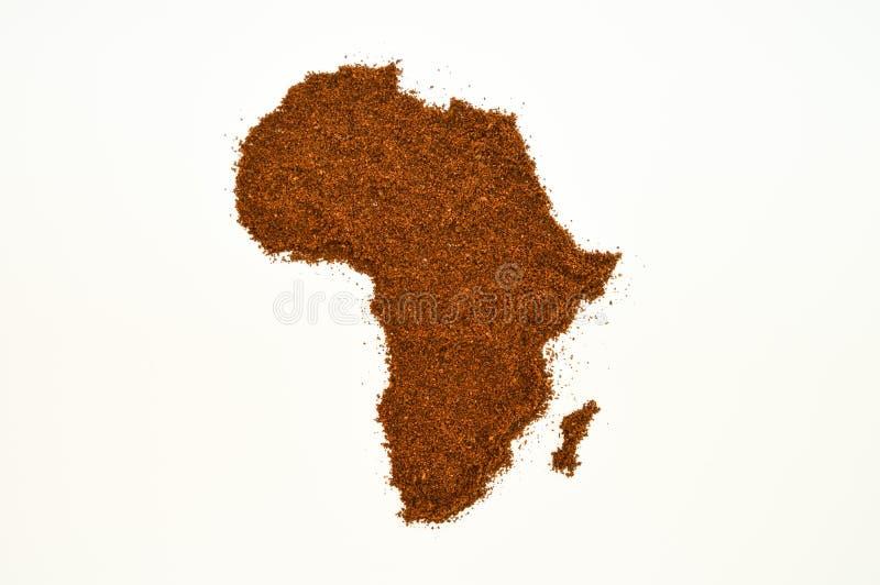 Αφρική που διαμορφώνεται με τη σκόνη καφέ στοκ εικόνες