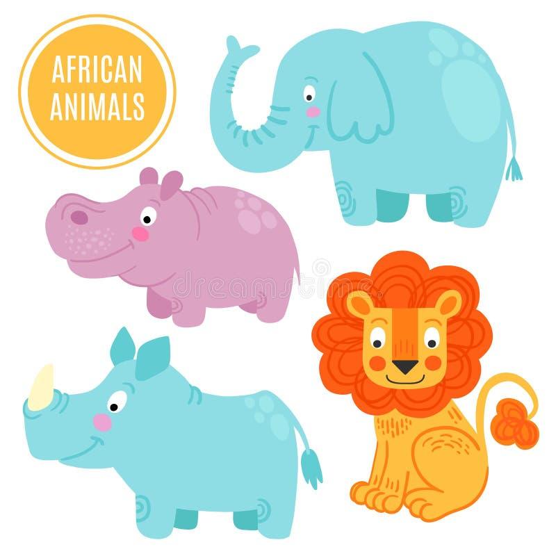 Αφρικανικά ζώα καθορισμένα απομονωμένα στο άσπρο υπόβαθρο διανυσματική απεικόνιση