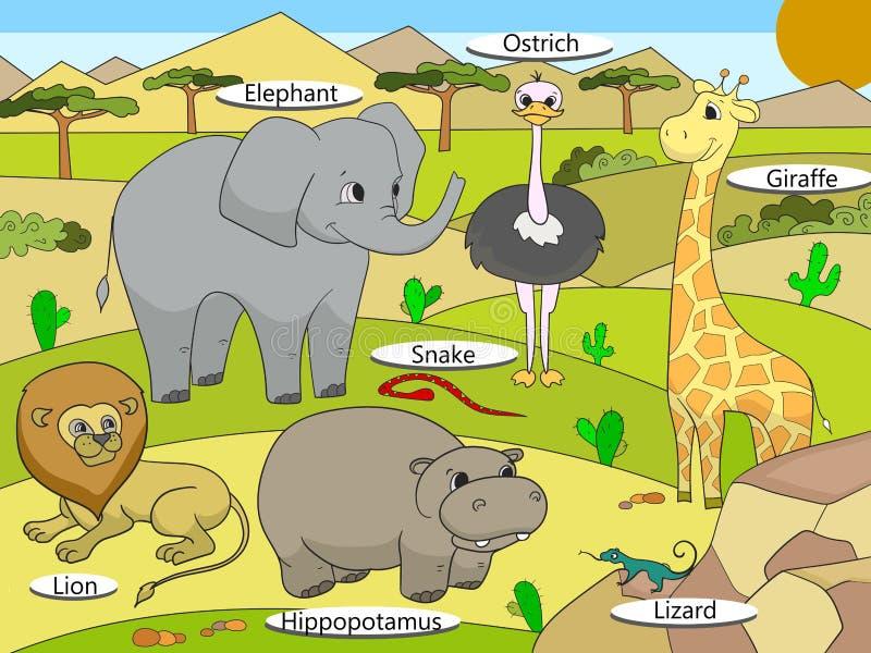 Αφρικανικά ζώα σαβανών με τα κινούμενα σχέδια ονομάτων εκπαιδευτικά ελεύθερη απεικόνιση δικαιώματος
