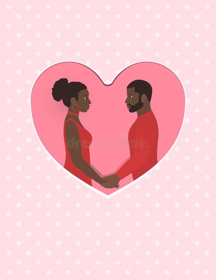 Αφρικανικά θηλυκό και αρσενικό ένα ζεύγος ερωτευμένο, κρατώντας τα χέρια και εξετάζοντας ο ένας τον άλλον ευχετήρια κάρτα ματιών  διανυσματική απεικόνιση