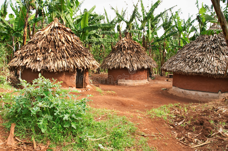 αφρικανικές καλύβες παραδοσιακές στοκ εικόνα