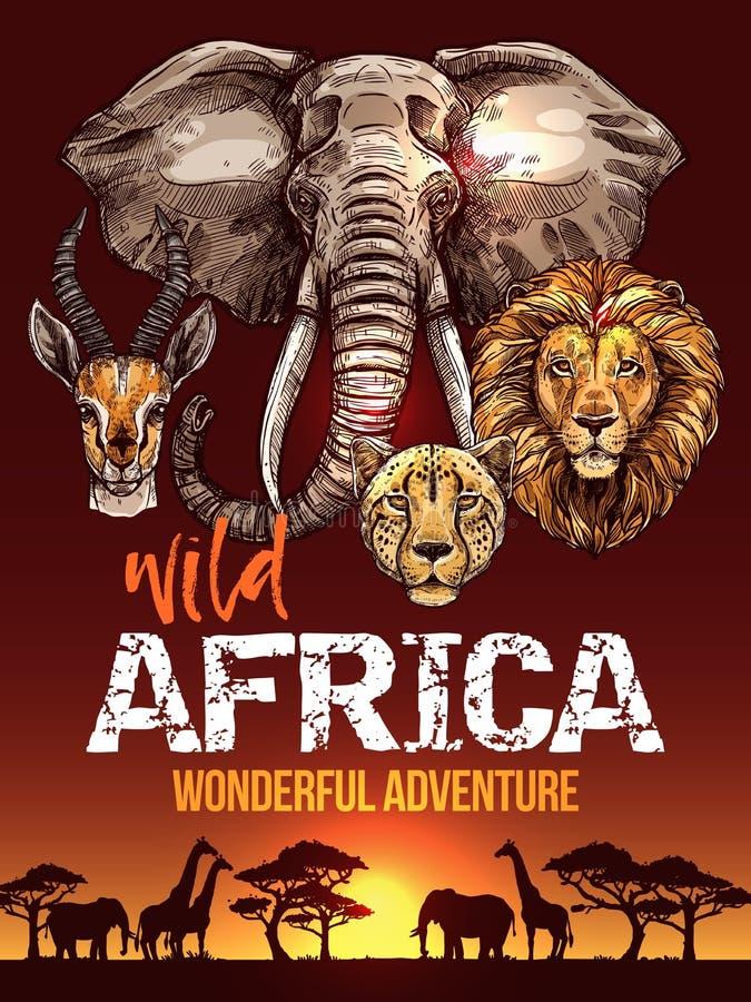 Αφρικανική αφίσα σαφάρι με τα σκίτσα άγριων ζώων απεικόνιση αποθεμάτων