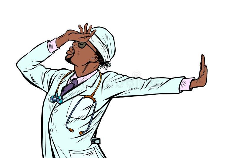 Αφρικανική ιατρική ατόμων γιατρών χειρονομία αριθ. άρνησης ντροπής ελεύθερη απεικόνιση δικαιώματος