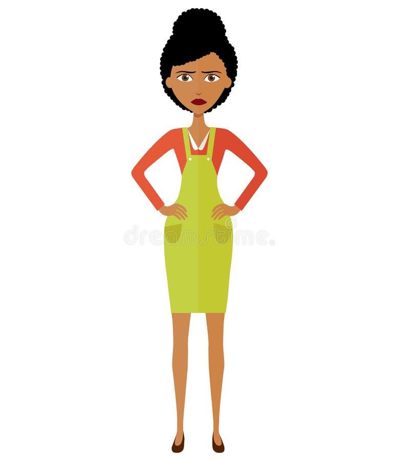 αφρικανική νέα γυναίκαη 0 δάσκαλος γυναικών Νοτιοαφρικανού ή αφροαμερικάνων δυστυχισμένη γυναίκα - Που απομονώνεται διάνυσμα ελεύθερη απεικόνιση δικαιώματος