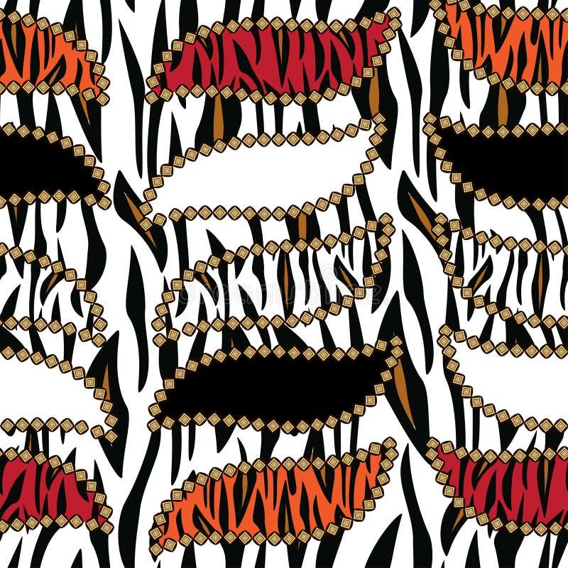Αφρικανική τυπωμένη ύλη με το πρότυπο δερμάτων τιγρών διανυσματική απεικόνιση