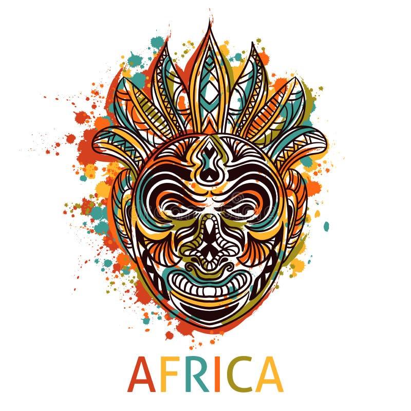 Αφρικανική φυλετική μάσκα με την εθνική γεωμετρική διακόσμηση και παφλασμοί στο ύφος watercolor διανυσματική απεικόνιση