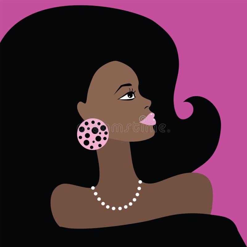Αφρικανική όμορφη γυναίκα. Διανυσματική απεικόνιση. ελεύθερη απεικόνιση δικαιώματος