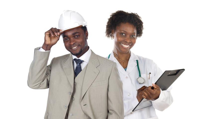 αφρικανικοί εργαζόμενοι ζευγών στοκ εικόνα