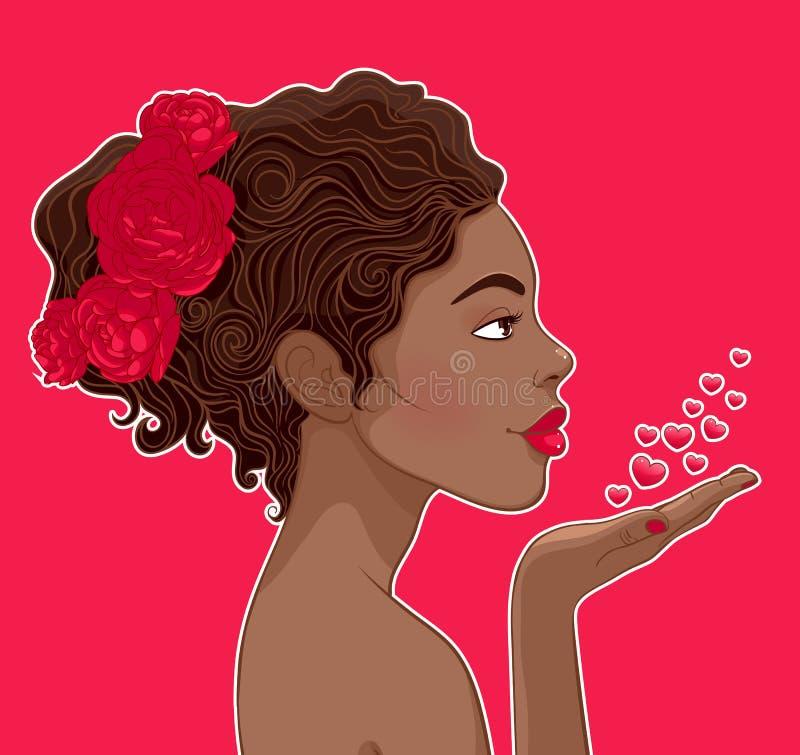 Αφρικανικός-αμερικανική γυναίκα ερωτευμένη διανυσματική απεικόνιση