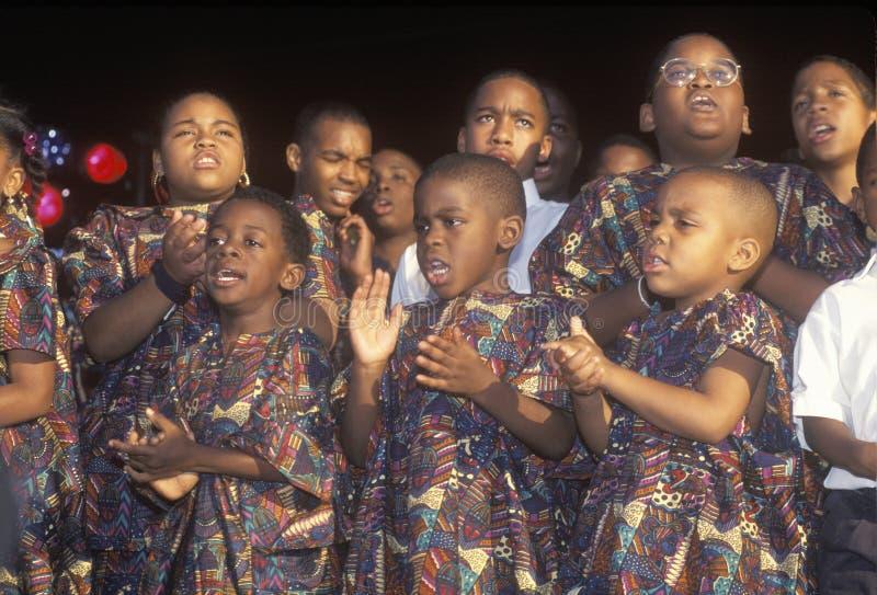 Αφρικανικός-αμερικανική χορωδία νεολαίας στοκ φωτογραφίες