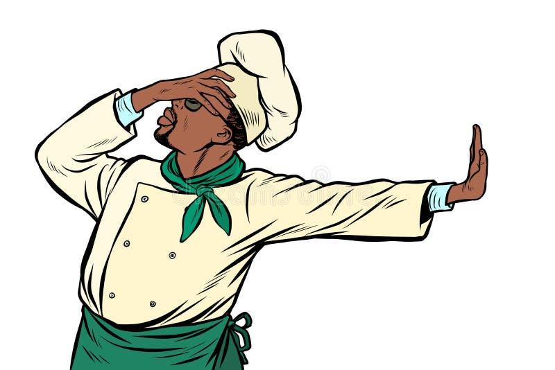 Αφρικανικός αρχιμάγειρας μαγείρων, χειρονομία της ντροπής άρνηση αριθ. ελεύθερη απεικόνιση δικαιώματος