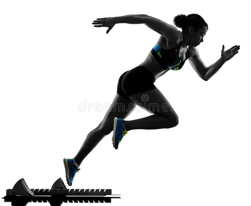 Αφρικανικός δρομέας που τρέχει sprinter τρέχοντας γρήγορα απομονωμένο το γυναίκα άσπρο β στοκ φωτογραφίες με δικαίωμα ελεύθερης χρήσης