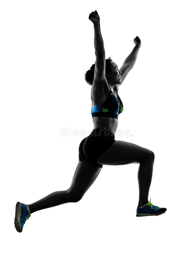 Αφρικανικός δρομέας που τρέχει sprinter τρέχοντας γρήγορα απομονωμένο το γυναίκα άσπρο β στοκ φωτογραφίες