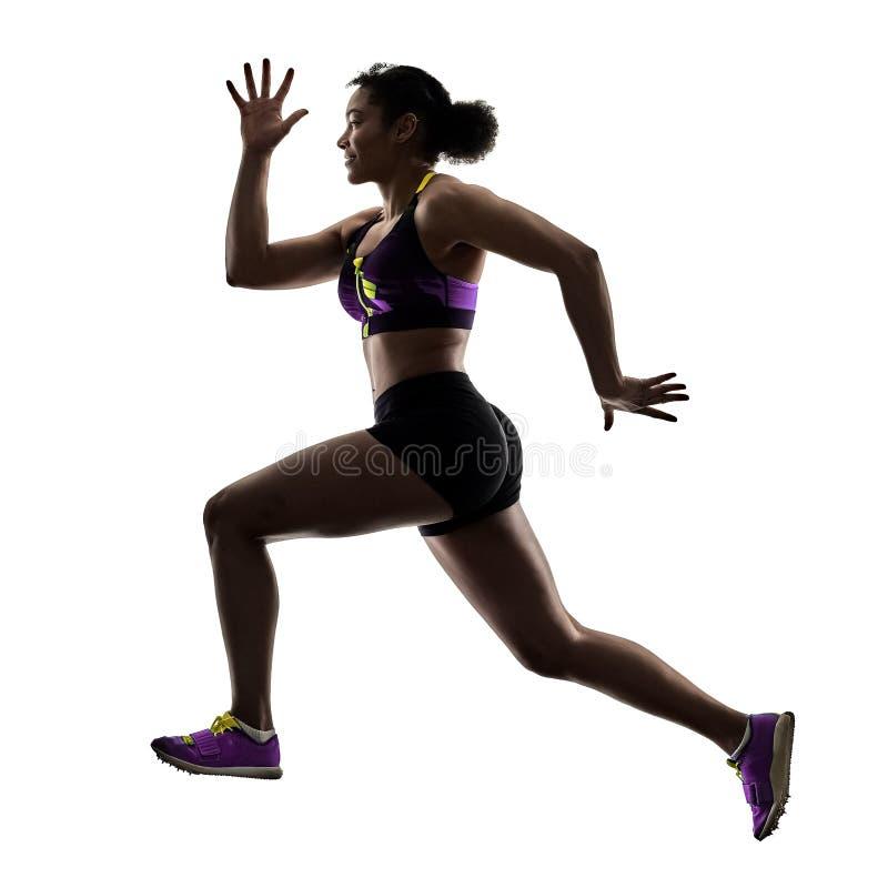 Αφρικανικός δρομέας που τρέχει sprinter τρέχοντας γρήγορα απομονωμένο το γυναίκα άσπρο β στοκ εικόνα