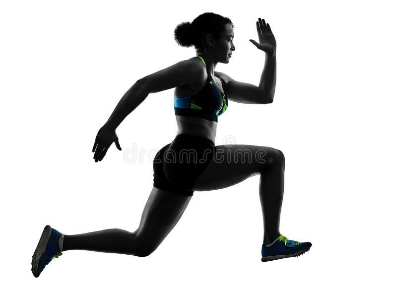 Αφρικανικός δρομέας που τρέχει sprinter τρέχοντας γρήγορα τη γυναίκα άσπρο β στοκ εικόνες