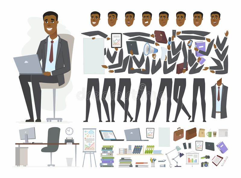 Αφρικανικός επιχειρηματίας - διανυσματικός κατασκευαστής χαρακτήρα ανθρώπων κινούμενων σχεδίων απεικόνιση αποθεμάτων