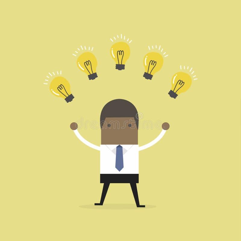 Αφρικανικός επιχειρηματίας με πολλές νέες ιδέες χρυσή ιδιοκτησία βασικών πλήκτρων επιχειρησιακής έννοιας που φθάνει στον ουρανό ελεύθερη απεικόνιση δικαιώματος