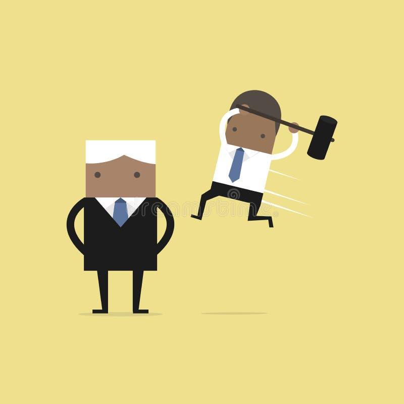 Αφρικανικός προϊστάμενος συντριβής άλματος επιχειρηματιών από την πλάτη διανυσματική απεικόνιση