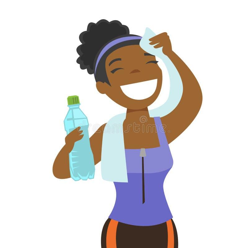 Αφρικανικός σκουπίζοντας ιδρώτας φιλάθλων με μια πετσέτα απεικόνιση αποθεμάτων