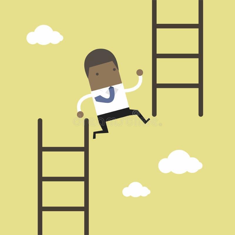 Αφρικανικό άλμα επιχειρηματιών από το χαμηλό σκαλοπάτι στο υψηλό σκαλοπάτι διανυσματική απεικόνιση