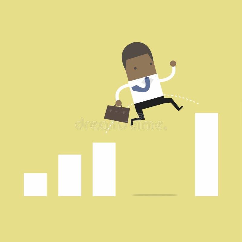 Αφρικανικό άλμα επιχειρηματιών μέσω του χάσματος στο διάγραμμα αύξησης απεικόνιση αποθεμάτων