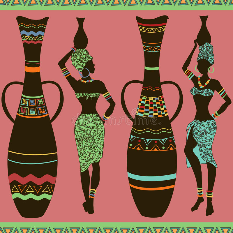 Αφρικανικό άνευ ραφής σχέδιο των κοριτσιών και των βάζων διανυσματική απεικόνιση