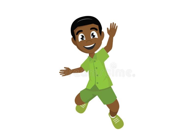 Αφρικανικό αγόρι που πηδά από την ευτυχία διανυσματική απεικόνιση