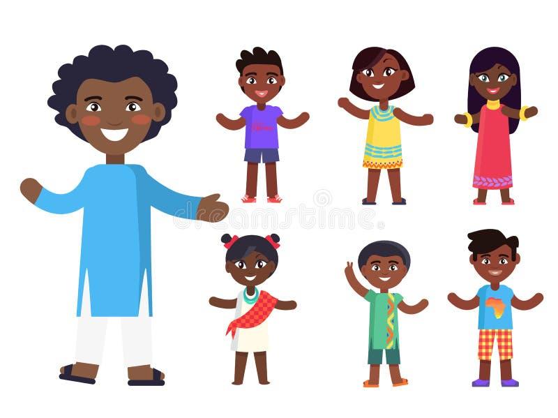 Αφρικανικό διάνυσμα αγοριών και κοριτσιών παιδιών απεικόνιση αποθεμάτων
