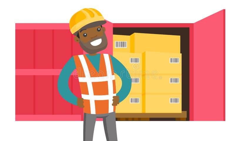 Αφρικανικό εμπορευματοκιβώτιο εργαζομένων και φορτίου με τα κιβώτια διανυσματική απεικόνιση