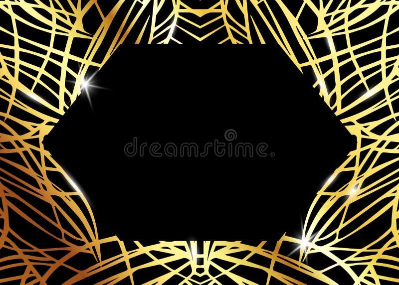 Αφρικανικό εξωτικό σχέδιο πολυτέλειας Κομψό φυλλάδιο, χρυσό λαμπρό γεωμετρικό πλαίσιο Αφηρημένη σύσταση με το φοίνικα, εξωτικά φύ απεικόνιση αποθεμάτων