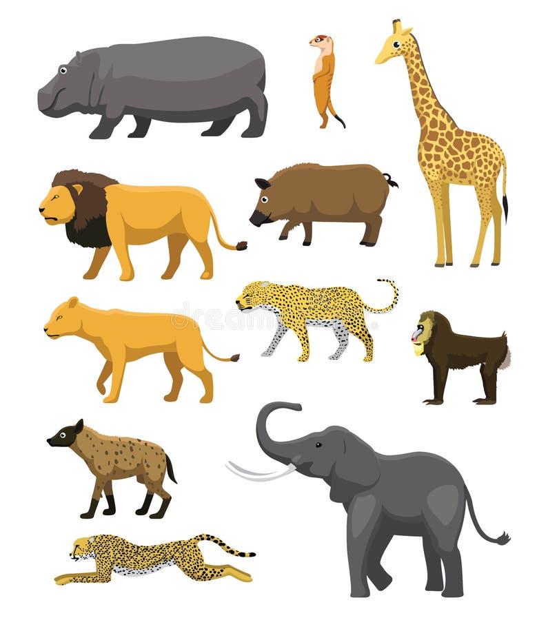 Αφρικανικό ζωικό καθορισμένο διάνυσμα κινούμενων σχεδίων σαβανών χαριτωμένο απεικόνιση αποθεμάτων