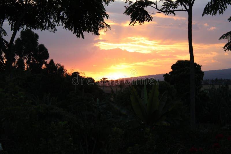 αφρικανικό ηλιοβασίλεμα στοκ φωτογραφία