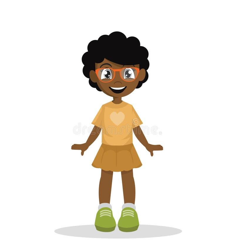 Αφρικανικό κορίτσι Nerdy με τα γυαλιά απεικόνιση αποθεμάτων