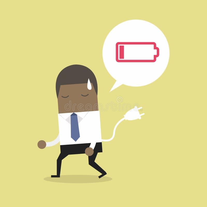 Αφρικανικό συναίσθημα επιχειρηματιών που κουράζονται και χαμηλής ισχύος μπαταρία ελεύθερη απεικόνιση δικαιώματος