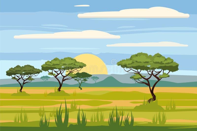 Αφρικανικό τοπίο, σαβάνα, ηλιοβασίλεμα, διάνυσμα, απεικόνιση, ύφος κινούμενων σχεδίων, που απομονώνεται ελεύθερη απεικόνιση δικαιώματος